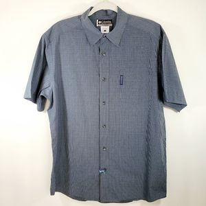 Columbia Mens Blue Button Down Shortsleeve Shirt